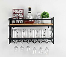 Weven Industrielles Weinregal aus Metall und Holz,