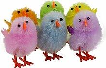 Wewill Marke Entzückende Mini Farbige Fluffy Ostern-Küken - 5 Kästen / Set, 6pcs / Kasten-Dekoration Osterei Bonnet Dekoration Plüsch-Party Chicks (Art 3)