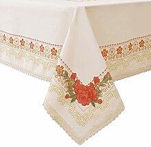Wewoch Dekorative rote Polyester-Tischdecke mit