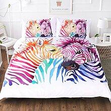 WFBZ Dreiteilige Regenbogen Zebra 3D Bettwäsche