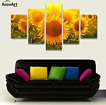 wfdmd 5 Stück Wandkunst Große Sonnenblume