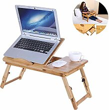WFGZQ Laptop-Tisch Aus Holz, Tragbares Bambusbett,