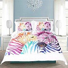 WFH Regenbogen Zebra 3D Bettbezug Bettwäsche, 3