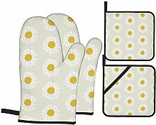 Wfispiy Ofenhandschuhe und Topflappen 4-teiliges
