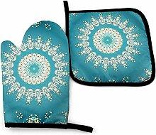 Wfispiy Türkis Blumen Mandala Rost N Blau