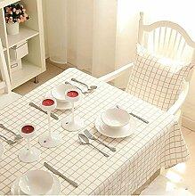 WFLJL Die einfachen Stil Tischdecke reine Baumwolle Kaffeetisch einen Esstisch Raster 140 * 140cm