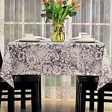 WFLJL Die europäischen Stil Esstisch Tischdecke Couchtisch Abdeckung eine rechteckige Restaurants Jacquard Lila 135 * 220cm