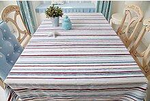 WFLJL einfachen Stil Tischdecke aus Baumwolle Couchtisch Rechteck Abdeckung Tuch streifen 65 * 65 cm