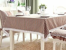 WFLJL Einfacher Stil Abdeckung Tischdecke Grid Kaffee 140 * 180cm