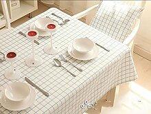 WFLJL Einfacher Stil Tischdecke reine Baumwolle idyllischen Tuch Couchtisch Blau 140*190cm