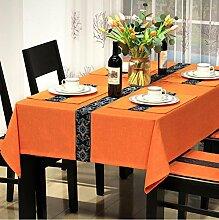 WFLJL Moderne Einfachheit Tischdecke Baumwolle Esstisch Rechteckig Abdeckung Wohnzimmer eingerichtete Restaurant Couchtisch Orange 130*190cm