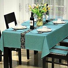 WFLJL Moderne Einfachheit Tischdecke Baumwolle Esstisch Rechteckig Abdeckung Wohnzimmer eingerichtete Restaurant Kaffee Blau 130 * 150cm