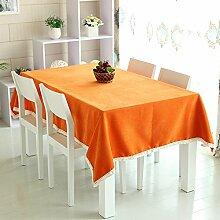 WFLJL Moderne minimalistische Tischdecke Esstisch Couchtisch Deckel Orange 140*190cm