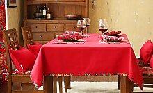 WFLJL Moderner Stil, Tischdecke, Couchtisch, Esstisch, Tuch, Küche, Rechteck, rot, 140 x 240 cm