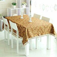 WFLJL Tischdecke Im europäischen Stil Jacquard Küche Esstisch Rechteck Wohnzimmer Couchtisch Braun 140*190cm