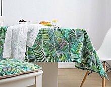 WFLJL Tischdecke Im Europäischen Stil Mit Garten Esstisch Schlafzimmer Baumwolle Kleine Frische Einem Schreibtisch Einem Rechteckigen Grüne Blätter 140 * 140Cm