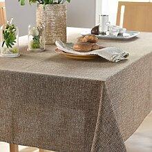 WFLJL tischdecke Im europäischen Stil reine Farben Stoffe Baumwolle Kleine Frische Tisch Rechteckig Braun 135*200 cm
