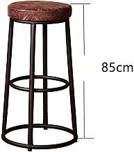 WGL Retro Eisen Massivholz Bar Stuhl, Coffee Shop Drehen High Stuhl Restaurant Shop Hochstuhl Bar Counter Hochstuhl Kassierer Haushalt Einfache Esszimmer Hocker 65-85cm kaufen ( Farbe : #1 , größe : 85CM )