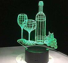 WGQYD 3D Illusion Lamp 16-Color Night Lamp