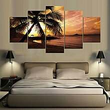 WGWNYN 5 Stück HD-Druck malen die Palmen am Meer