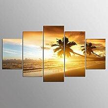 WGWNYN 5 Stück HD-Druck Malerei Küstenlandschaft
