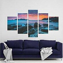 WGWNYN 5 Stück HD Print PaintingBlue Morning