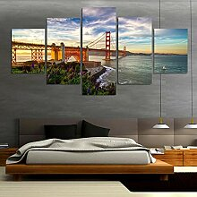 WGWNYN Leinwand HD-Druck 5 Stück Golden Gate