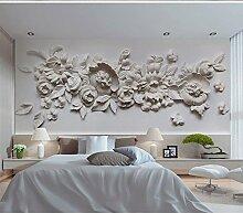 Wh-Porp 3D Große Wandbild Gips Relief Blume 3D