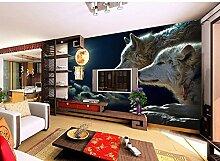 Wh-Porp 3D Große Wandbild Nacht Mond Wolf Wand