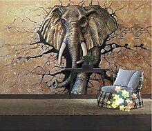 WH-PORP Custom tapete 3D Stereo Relief Elephant Tv