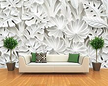 WH-PORP Leaf Pattern Plaster Relief Murals 3D
