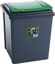 Wham 12417 Abfalleimer Recycling m.Deckel 50 Liter Box GRAU/GRÜN Mülleimer Eimer