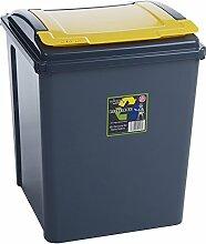 Wham 12418 Abfalleimer Recycling m.Deckel 50 Liter Box GRAU/GELB Mülleimer Eimer