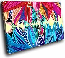 Whats On Your Wall.com AB1536B gerahmte Leinwanddruck Bunte Wand-Kunst - Bunte Blumen - modernes abstraktes Wohnzimmer Schlafzimmer Bild Stück Wohnkultur Interior Design Einfach Hang Guide (40x30cm)