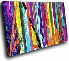 Whats On Your Wall.com AB338C gerahmte Leinwanddruck Bunte Wand-Kunst - Bunt Cool Funky - moderne abstraktes Wohnzimmer Schlafzimmer Bild Stück Wohnkultur Interior Design Einfach Hang Guide (60x40cm)