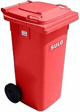Wheelie bin SULO 120 L, Papierkorb, Mülleimer, Müllcontainer Kasserolle mit Deckel, rot (22113)