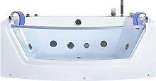 Whirlpool-Badewanne Weiß mit Farblichttherapie