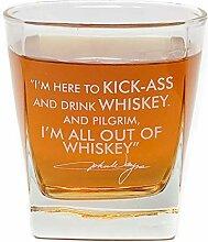Whiskey-Cocktailglas mit Zitat von John Wayne, 284