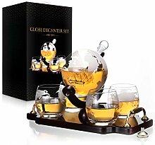 Whiskey Dekanter Set World Etched Globe Dekanter