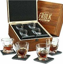 Whiskey-Gläser-Set, gedreht, 4 Stück, 325 ml,