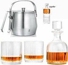 Whiskey Karaffe Set 2 Gläser & Eisbehälter