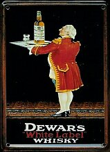 Whiskey Mini-Blechschild Blechpostkarte - Dewar's White Label - 8x11cm Nostalgieschild Retro Schild Metal tin sign
