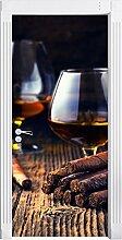 Whisky mit Zigarre als Türtapete, Format: 200x90cm, Türbild, Türaufkleber, Tür Deko, Türsticker