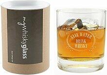 Whiskyglas Save water! Drink whisky! - Geschenkbox mywhiskyglass – Geschenk Geschenkidee für Männer Geburtstagsgeschenk Weihnachtsgeschenk Freundschaf