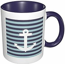 White Anchor Striped Porzellan Kaffeetasse Bunte