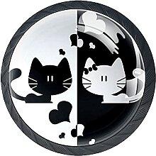 White Black Cat LoveKabinett Knöpfe