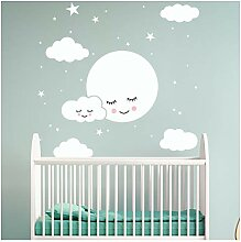 White Cartoon Smiley Cloud Stars Wandaufkleber