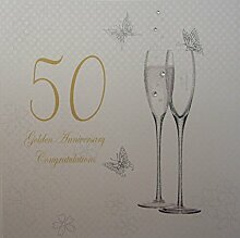 WHITE COTTON CARDS 50 Goldene Hochzeit,