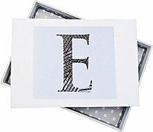 WHITE COTTON CARDS Alphabetics Initiale E Mini
