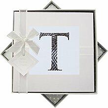 WHITE COTTON CARDS Alphabetics Initiale T